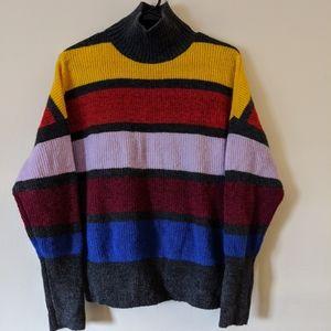 Color block Mock Sweater